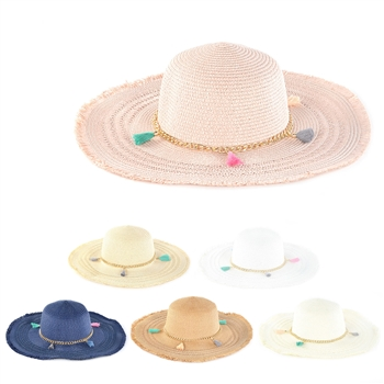 Tassel Chain With straw Sun Hat HY3688