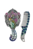 Small Size Peacock Flower Mirror M0399 - Silver