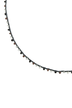 Women Tiny Beads Necklaces for Pendant N3066-32 INCHES - Grey