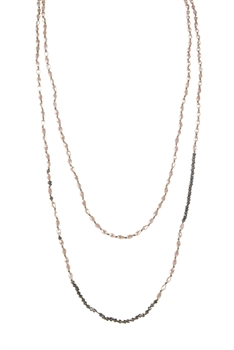 Charming Handmade Crystal Beaded Long Necklaces N3072 - Champagne