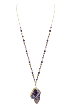 Grey Stone Crystal Beads Long Necklaces N3107 - Amethyst