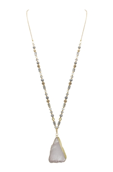 Grey Stone Crystal Beads Long Necklaces N3107 - Clear Quartz