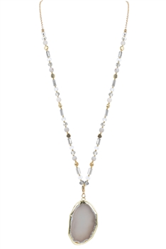 Grey Stone Crystal Beads Long Necklaces N3107 - Grey