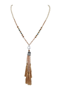 Women Bead Crystal Tassel Long Necklaces N3112 - Champagne