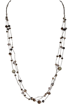 Three Layers Small Natural Stone Necklaces N3129 - Champagne