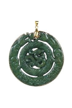 Chinese Mascot Dragon Necklace Pendants P0004 - Green