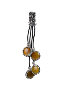Crystal Pave Leather Rope Long Agate Necklace Pendants P0104 - Champagne