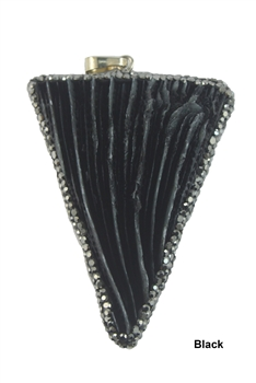 Fashion Triangle Stone Shell Statement Pendants P0113 - Black