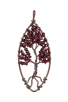 Tree Of Life Stone Necklace Pendant P0178 - Red