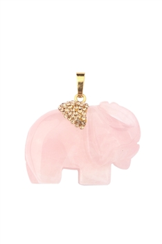 Elephant Natural Stone Pendant P0517 - Pink