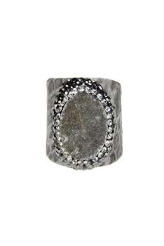 Fashion Snakeskin Leather Around Cuff Ring Pave Stone Rings R1393
