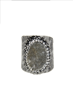 Fashion Snakeskin Leather Around Cuff Ring Pave Stone Rings R1393 - Grey