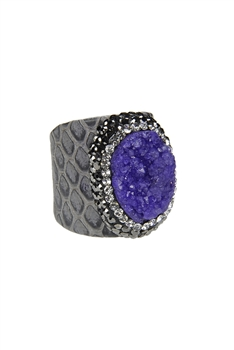 Fashion Snakeskin Leather Around Cuff Ring Pave Stone Rings R1393 - Purple