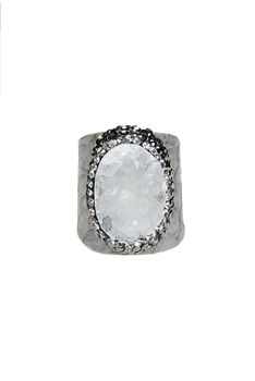 Fashion Snakeskin Leather Around Cuff Ring Pave Stone Rings R1393 - White