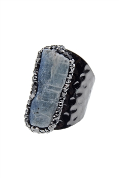 Cyanite Stone Crystal Metal Rings R1401