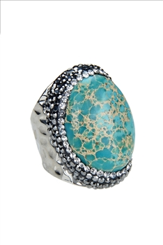 Charming Natural Rhinestone Sea Sediment Rings R1405