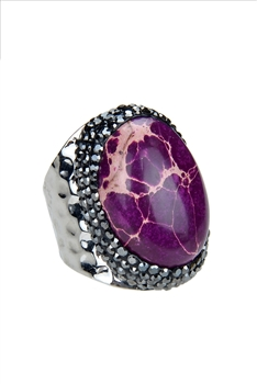 Emperor Stone Crystal Metal Rings R1405 - Purple