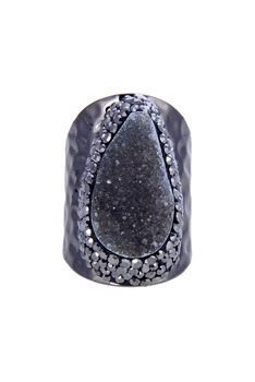 Druzy Stone Metal Rings R1408 - Black