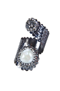 Fashion Charms Pearl Rings R1412 - Black