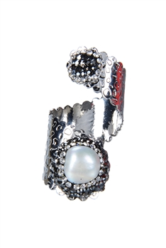 Fashion Charms Pearl Rings R1412 - Silver