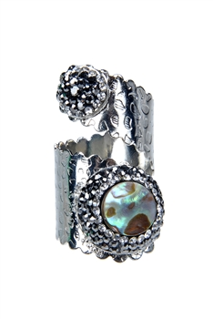 Fashion Charms Crystal Metal Rings R1413 - Silver