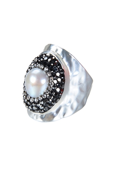Fashion Charming Pearl Crystal Metal Rings R1414 - Silver