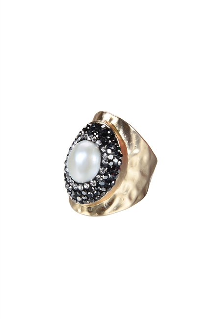 Fashion Charming Pearl Crystal Metal Rings R1414