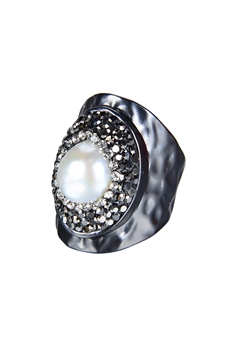 Fashion Charming Pearl Crystal Metal Rings R1414 - Black