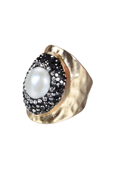 Fashion Charming Pearl Crystal Metal Rings R1414 - Gold
