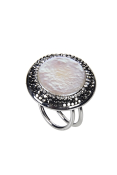 Charming Pearl Pave Crystal Rings R1418