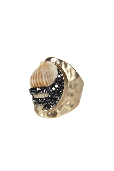 New Summer Beach Conch Shell Pave Crystal Rings R1419
