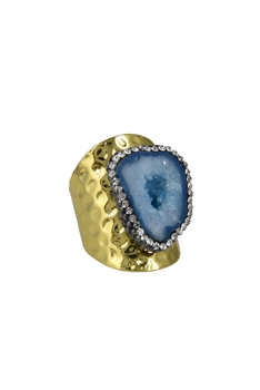 Fashion Gold Plated Natural Druzy Agate Stone Rings R1421