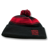Scribble Pom Pom Beanie (Black/Red )