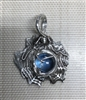 Fine Silver Spiderweb with Blue CZ Cabochon