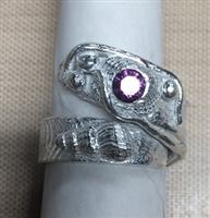 Sterling Silver Crossover Ring with Amethyst CZ