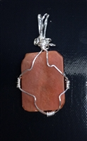 Rare Orange Beach Glass wrapped in Sterling Silver Wire