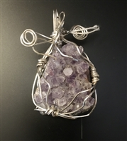 Natural Amethyst Druzy Crystals wrapped in Sterling Silver wire