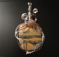 Fancy Bumblebee Jasper wrapped in Sterling Silver Wire