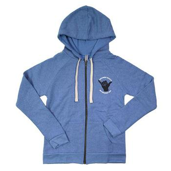 Moomba Ladies Raglan Zip Hoodie - Bay Blue