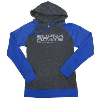 Supra Ladies Wave Raglan Hoodie - Hyper Blue / Charcoal