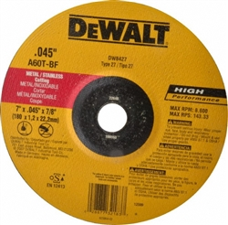 "Dewalt 7"" Thin Metal Cut Off Wheel Type 27 DW8427"