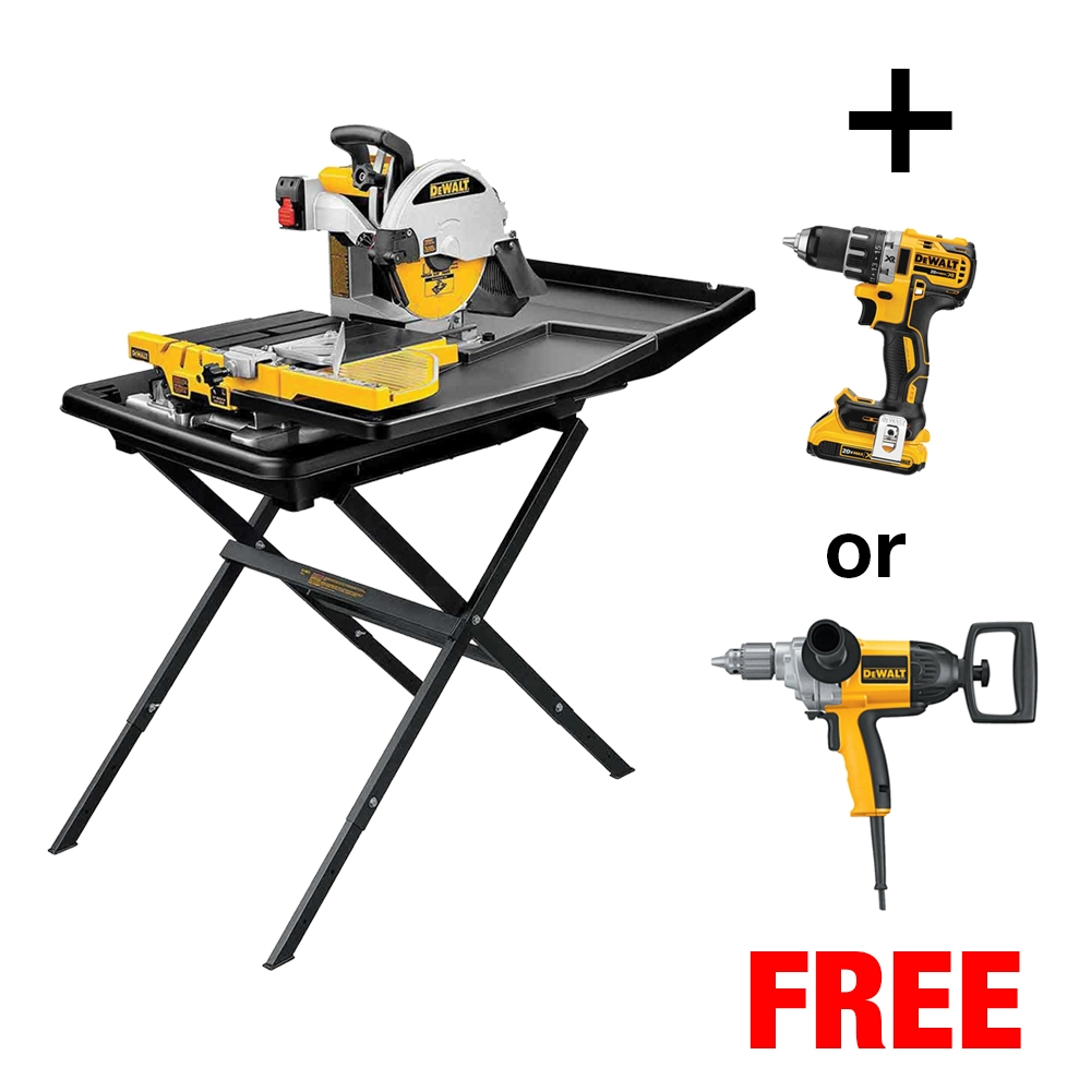 Dewalt DS Tile Saw W Free Drill StoneToolingcom - Dewalt wet saw pump