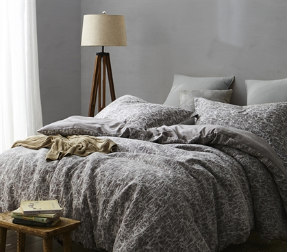 Twin XL Duvet Cover Dorm Room Bedding Frosted Peppercorn and Light Stone Gray Atacama Desert