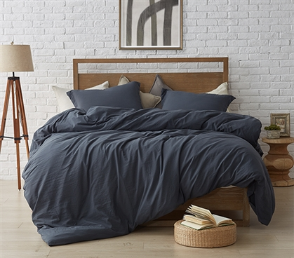 Oversized Twin XL Comforter for Dorm Bed Soft and Thick Natural Loft® Faded Black High Quality College Bedding