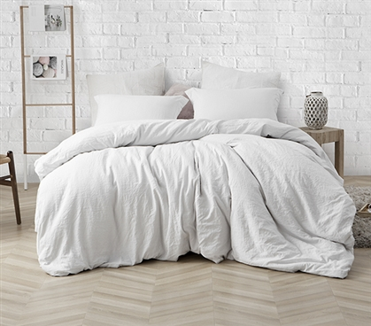 Most Comfortable College Bedding Natural Loft Soft and Thick Dorm Comforter Stylish Farmhouse White Removable Machine Washable Cover