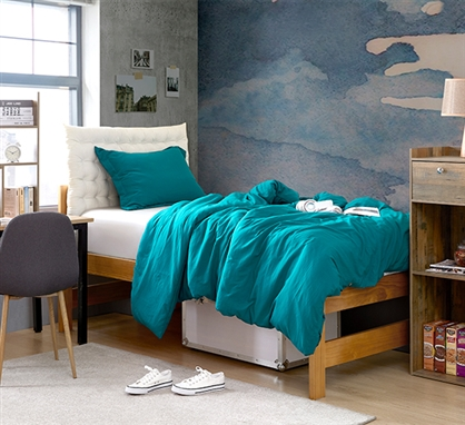 Stylish Ocean Depths Teal College Duvet Cover and Dorm Bedding Insert High Quality Natural Loft Twin XL Bedding Set