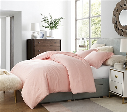 Pretty Rose Quartz Pink College Comforter High Quality Natural Loft Extra Thick and Soft Microfiber Twin XL Bedding