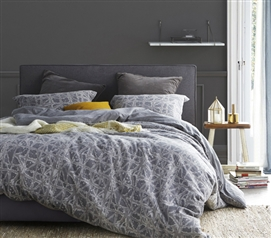Stylish Dorm Room Decor Gray Ice-Crystal Design Extra Long Twin Duvet Cover College Bedding