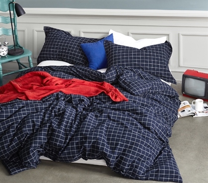 Twin XL Bedding Classic Frame Navy Modern Design Twin Extra Long Duvet Cover