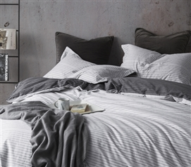 Static EFX White and Gray Duvet Cover Static Lines College Dorm Bedding